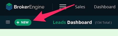 """New Lead"" button on the BrokerEngine Leads dashboard"