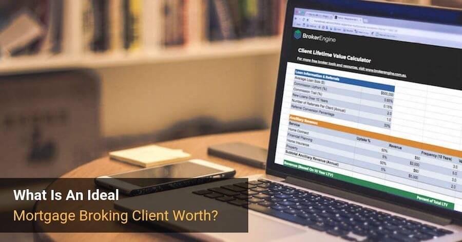 broker client value calculator on laptop screen