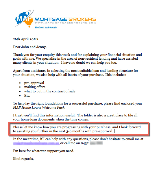 Mortgage Client Warm Lead Cover Letter