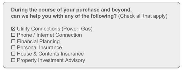 Sample cross selling opportunity question for client fact find.