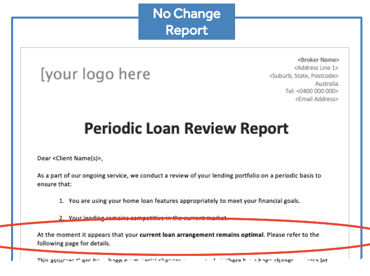 Loan Review - No Change Report
